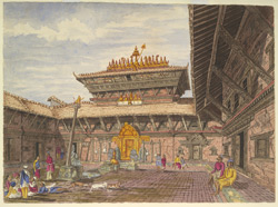 Interior of a Quadrangle or Court, containing a Buddhist temple (or more strictly speaking a 'Deota Ke Mookan') in Patun. March 1853